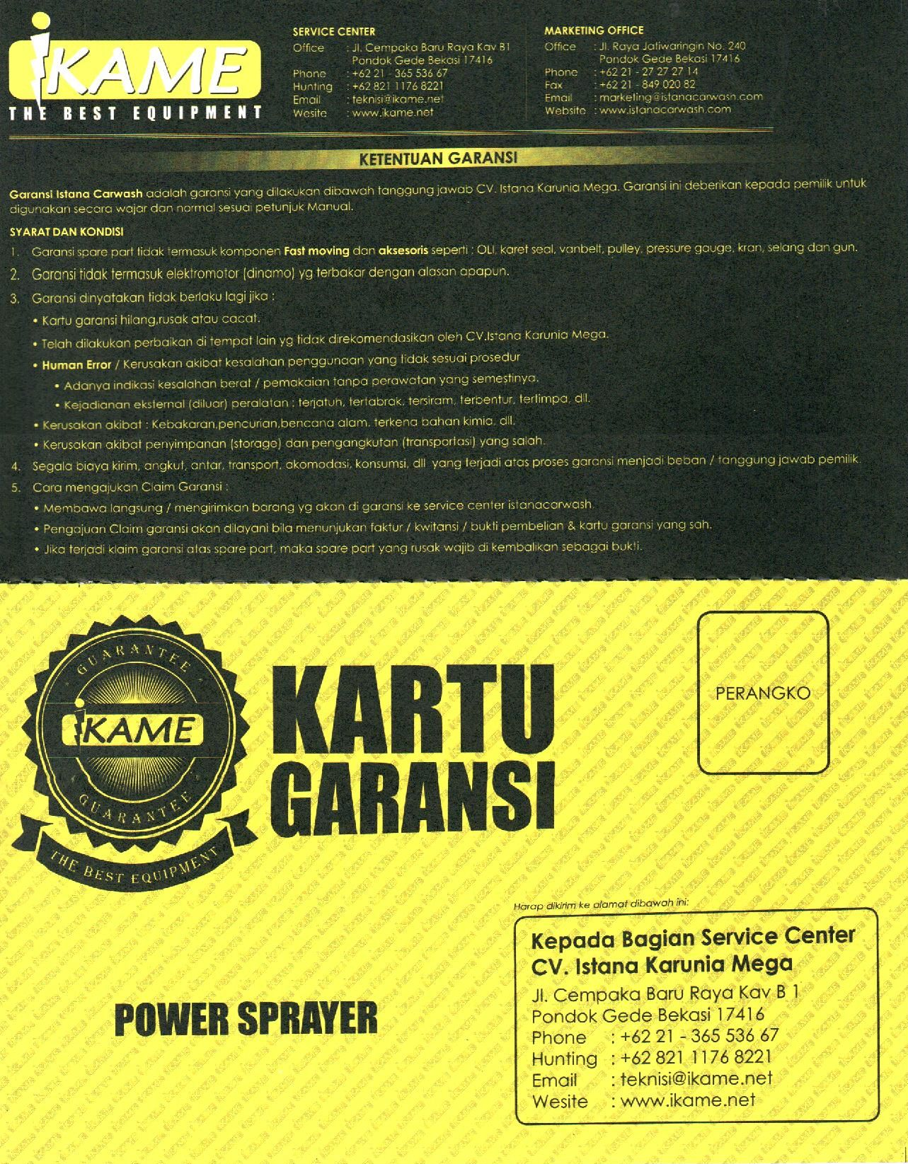 kartu garansi power sprayer depan MESIN STEAM AIR